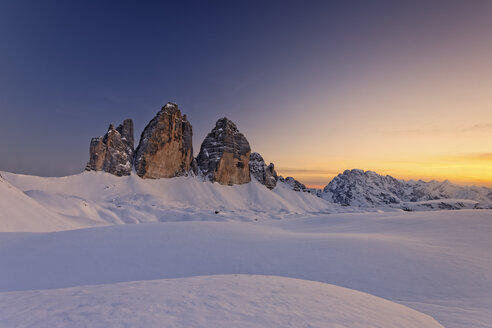 Italy, Dolomites, Trentino-Alto Adige, Pustertal valley, Hochpuster valley, Tre Cime di Lavaredo at sunset - GFF000450
