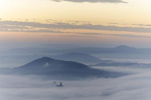 Germany, Rhineland-Palatinate, Vulkan Eifel, View from Teufelskanzel to Nickenich, Kruft at sunrise - PA000605