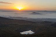 Germany, Rhineland-Palatinate, Vulkan Eifel, View from Teufelskanzel to Nickenich, Kruft at sunrise - PA000602