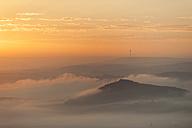 Germany, Rhineland-Palatinate, Vulkan Eifel, View from Teufelskanzel to Nickenich, Kruft at sunrise - PA000598