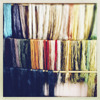 Dyed silk in a silk mill, La Palma, Spain - SEF000672