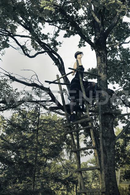Germany, Blindfolded woman on raised hide in tree - FC000041 - Christina Falkenberg/Westend61