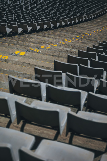 Spain, Catalunya, Barcelona, Old olympic stadium, Tiers and steps with numbers - EBSF000166
