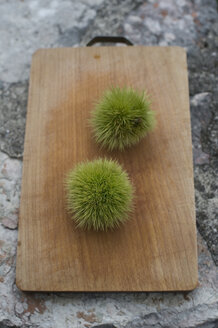 Two chestnuts, Castanea sativa, on chopping board - ASF005343