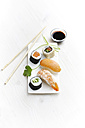 Variety of sushi on plate - KSWF001240