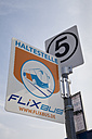 Germany, North Rhine-Westphalia, Dortmund, Bus stop, Sign, Long-distance bus, FlixBus - WI000591
