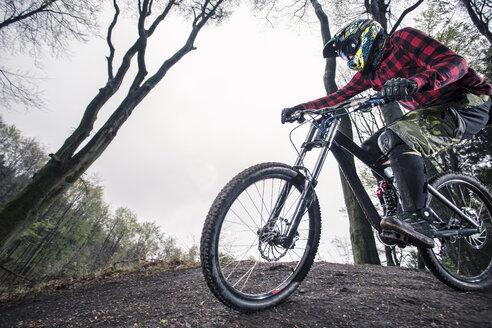 Germany, Lower Saxony, Deister, Bike Freeride in forest - MUMF000049