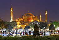 Turkey, Istanbul, Park with fountian by night, Hagia Sofia Mosque in the background - SIEF005309