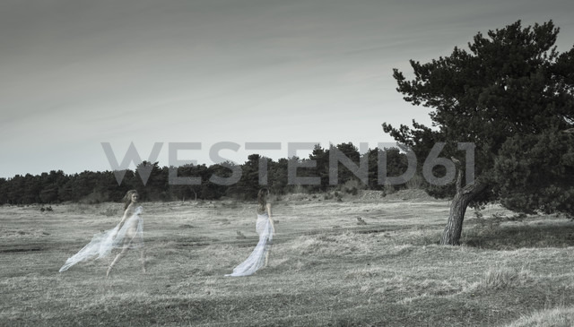 Germany, Bavaria, Froettmaning Heath, Young women on a meadow, invisible, dreamlike - FCF000060