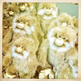 Stuffed toy monkey in the Montagne de singes in Kintzheim, Alsace, France, - DHL000406