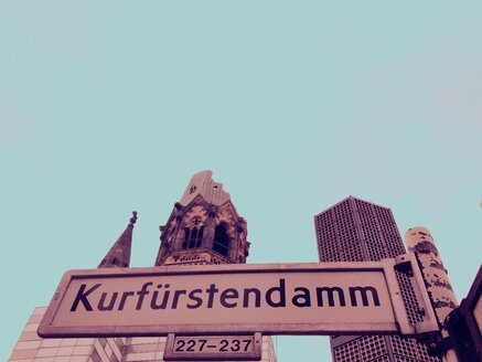 Street sign Kurfuerstendamm, Memorial Church, Berlin, Germany - RIMF000251