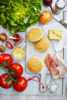Ingredients of burgers on light ground, elevated view - KSWF001267
