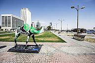 UAE, Dubai, Camel statue at the creek - THA000294