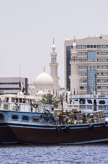 UAE, Dubai,  Mosque and boats at Al Rigga - THAF000291