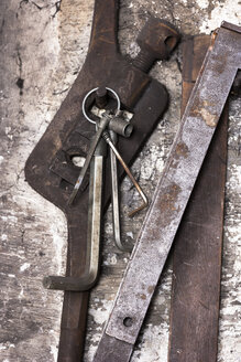 Germany, Bavaria, Josefsthal,allen keys and angle measure at historic blacksmith's shop - TCF003932