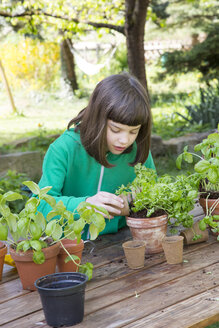 Little girl repotting parsley on wooden table in the garden - LVF001141