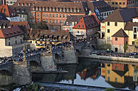 Germany, Bavaria, Wuerzburg, Old town, Old Main Bridge in the evening - JTF000523