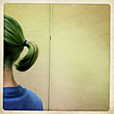 Young girl, ponytail, cut, Austria, back view - DISF000809