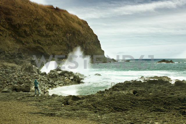 Portugal, Azores,Sao Miguel, Tourist capturing view - ONF000452