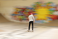 Skate boarder at skateboard ground - LAF000742