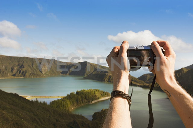 Portugal, Azores,Sao Miguel, Tourist capturing view - ONF000466