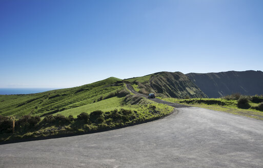 Portugal, Azores,Sao Miguel, Car on road at Caldeira das Sete Cidades - ONF000471