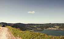 Portugal, Azores,Sao Miguel, Tourist capturing view - ONF000446