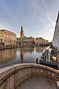 Germany, Hamburg, Kleine Alster with Hamburg City Hall in the background - RJF000117