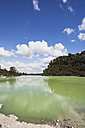 New Zealand, Rotorua, Wai-O-Tapu Thermal Wonderland, Lake Ngakoro with Mt Tarawera in background - GW002839
