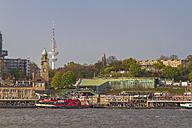 Germany, Hamburg, Port of Hamburg, St. Pauli Landing Stages, in the background TV Tower and Bismarck Monument - KRPF000490