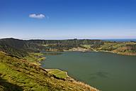 Portugal, Azores, Sao Miguel, View from Caldeira das Sete Cidades to Lagoa Azul and Lagoa Verde - ONF000546