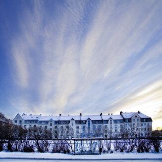 Scandinavia, Norway, Bus stop, Snow, Blue sky - CNF000030