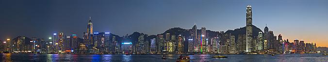 China, Hong Kong, downtown city centre by night - SHF001258