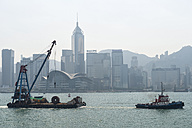 China, Hong Kong, barges in front of downtown city centre - SH001265