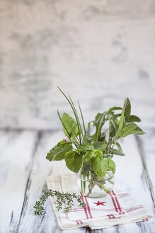Different culinary herbs in a glass - SBDF000864