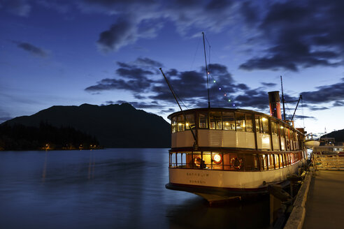 New Zealand, Queenstown, lighted passenger ship lying at quai - STD000044