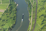Germany, Rhineland-Palatinate, aerial view of cargo ship on Moselle River - PA000654