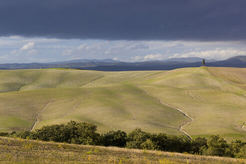 Italy, Tuscany, Province of Siena, Crete Senesi, Landscape of hills with furrows - KLRF000053