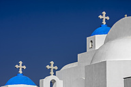 Greece, Cyclades, Naxos, view to Agios Nikodimos church in front of blue sky - KRPF000457