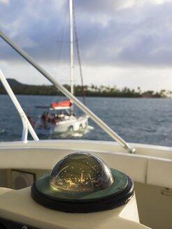 Caribbean, Martinique, Sainte-Anne, Compass on a sailing yacht - AM002215