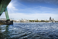 Germany, North Rhine-Westphalia, Cologne, River Rhine, Severins Bridge and view to the city - ONF000552