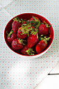 Bowl of strawberries on cloth, elevated view - LVF001249