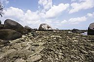 Indonesia, Riau Islands, Bintan, Nikoi Island, Beach with granite blocks - THAF000363