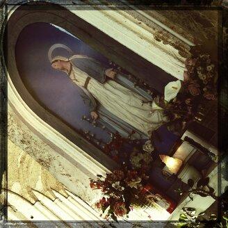 Italy, Campania, Amalfi Coast, cemetery Cimitero Monumental, Statue Holy Mary - STE000086