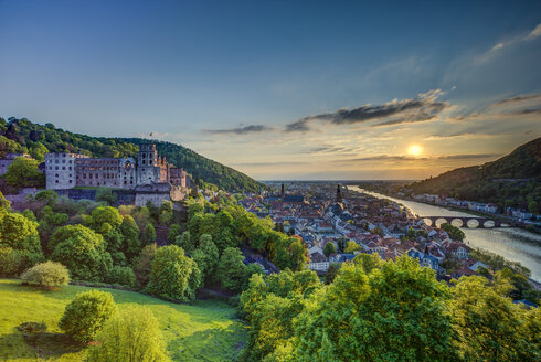 Germany, Heidelberg, Heidelberg Castle and Neckar River - TIF000046