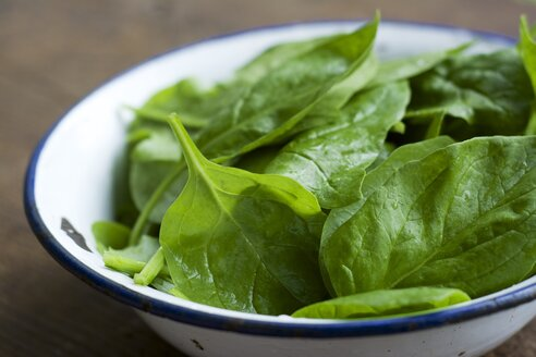 Bowl of spinach leaves, Spinacia oleracea - HAWF000186