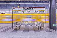 Germany, Berlin, modern architecture of subway station Hauptbahnhof, central station, with moving underground train - NKF000126