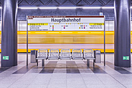 Germany, Berlin, modern architecture of subway station Hauptbahnhof, central station, with moving underground train - NKF000127
