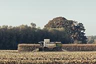 Germany, North Rhine-Westphalia, Harvester in field near Gescher - MEM000024