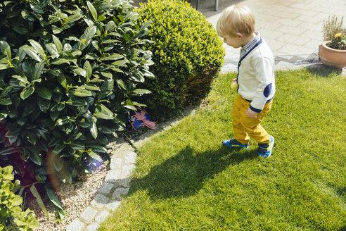 Little boy finding an Easter surprise in the garden - MFF001117